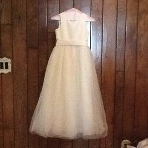 David's bridal creamy flower girl dress with bow